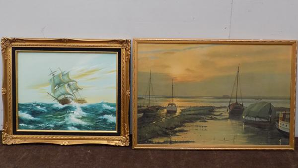 2 x boat pictures, one oil on canvas