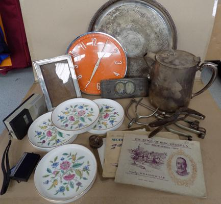 Box of collectables inc silver plate/ Minton etc