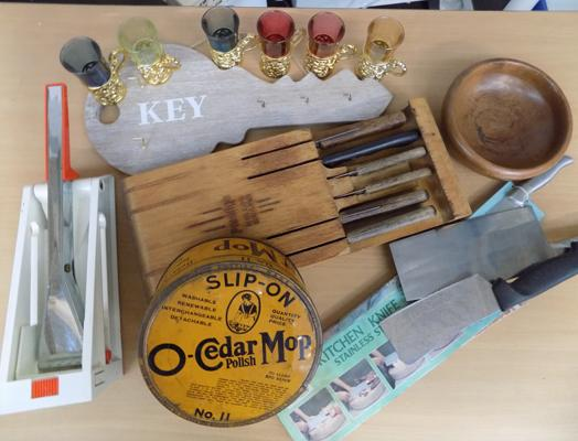 Vintage kitchen items, incl. knives, cedar mop, shot glasses etc...
