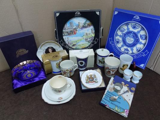 Box of commemorative cups, plates, tea towel, dinner plates, serving plates, gravy boat & incl. Ringtons items
