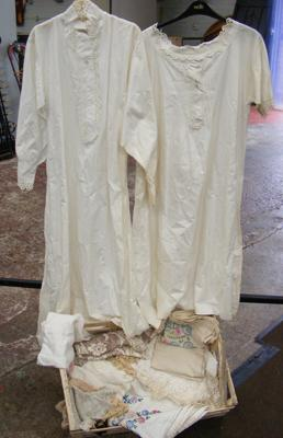 2x Vintage linen night gowns & box of embroidered linen