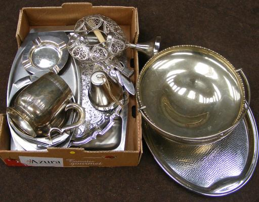 Box of silver plate & EPNS etc...