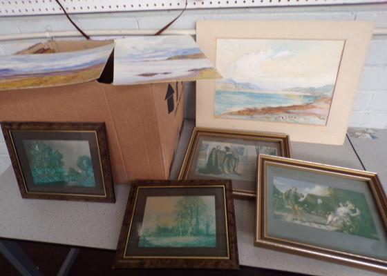Box of framed & unframed watercolours + prints - 19 in total