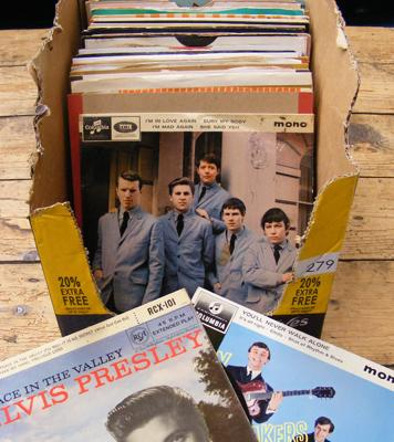 Small box of vinyl singles and EP's - mainly 1960's