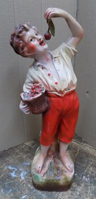 Vintage ceramic 'Cherry Boy' 1930's advertising ornament - 18 inches