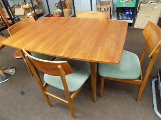 Teak table & four chairs