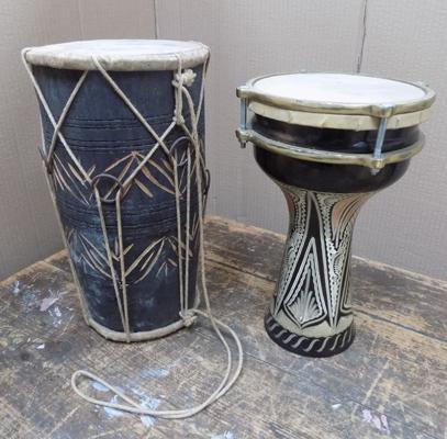 "Moroccan 12"" high drum & Indian 11"" high drum with original skins"