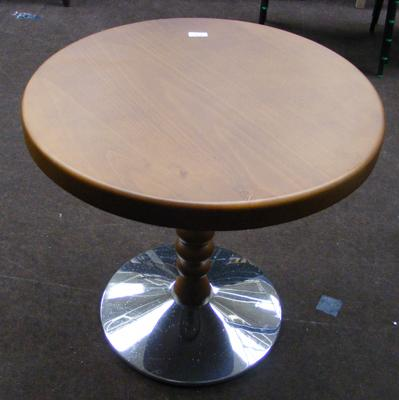 Solid Beech round table, chrome base