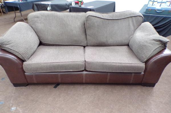 Leather & cloth 3 seater settee