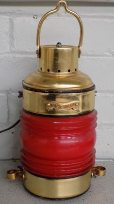 Mast Head red lantern, brass with glass lens (in tact) - re-wired to be a lamp - W/O