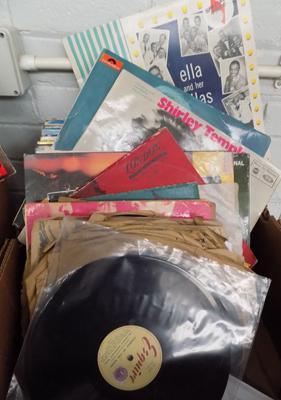 "Assorted box of LP's & 10"" records"