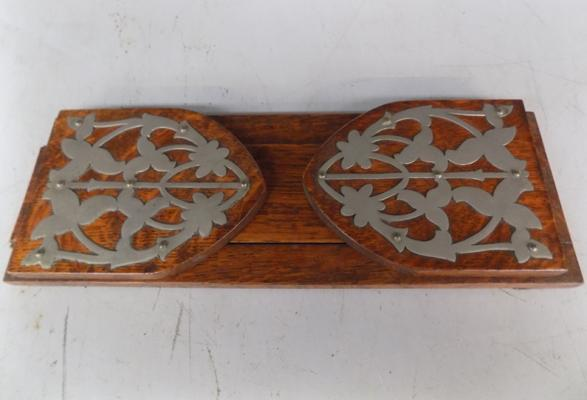 Ornate oak bookslide - vintage