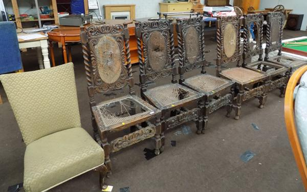 6x  Carved chairs (need restoration) & nursing chair