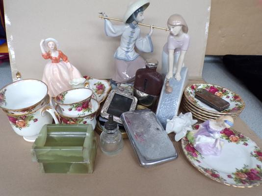 Box of assorted pottery inc Lladro, Nao, Royal Albert etc