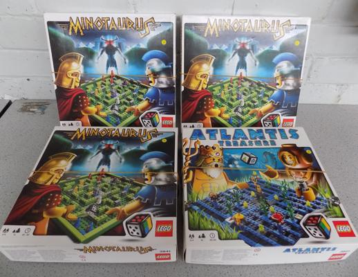 4 x Lego board games - Minotaurus (3) + Atlantis Treasure - all complete with instructions