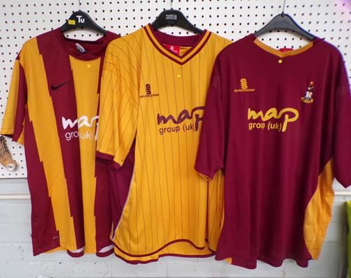3 x old Bradford City football shirts