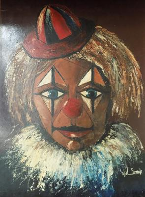 Original signed oil painting by Neil Simone 'The Russian Clown', early painting on board