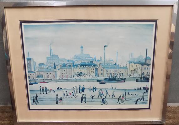 Lowry framed print 'Northern River Scene' - 32 x 24 1/2 inches
