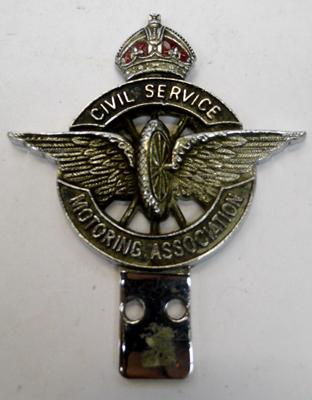 Vintage enamel car mascot - Civil Service Motoring Association