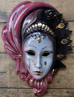 Porcelain Masquerade wall plaque