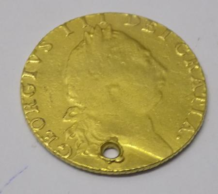 Antique Georgian - George III, 22 carat Gold - Full Guinea (holed)