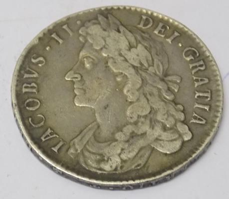 1687 James II - milled silver Half Crown  coin
