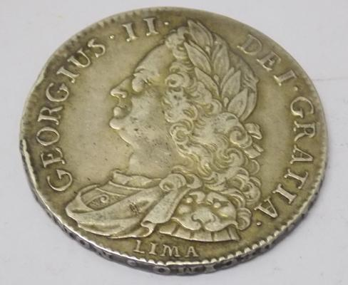 1745 George II - silver Lima - Half Crown coin
