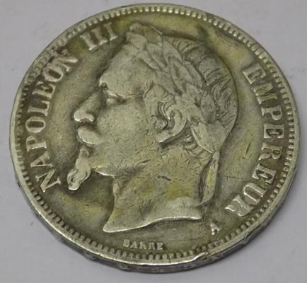 French - 1870 silver 5 Francs coin - Napoleon III