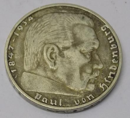 German - 1937 two Reichsmark coin - third Reich/ Paul Von Hindenburg