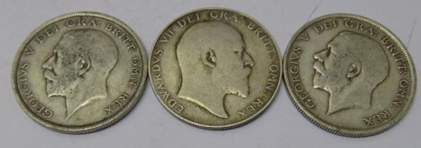 2 x  George V + 1 x Edward VII Crown coins-  dated 1907, 1914 and 1918