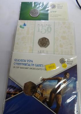New 50p Olympic/Beatrix/WWF Coins in presentation packs