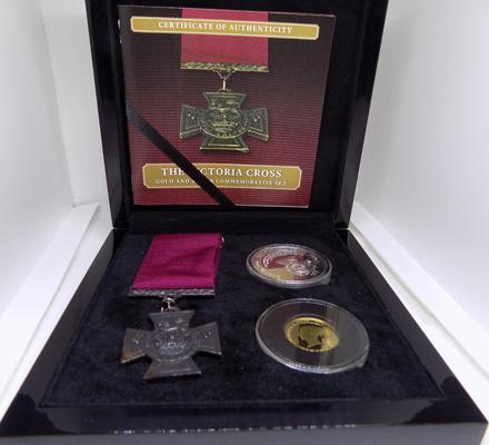 Victoria Cross Trio Set, Replica V.C. Medal solid silver Crown, 9ct white Gold layered with 24ct yellow Gold.