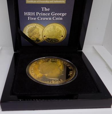Prince George Five Crown coin, 24ct plated with 2 Swarowski Rubys