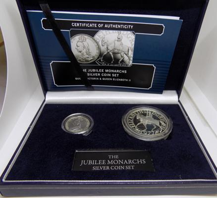 2 piece Monarch silver coin set