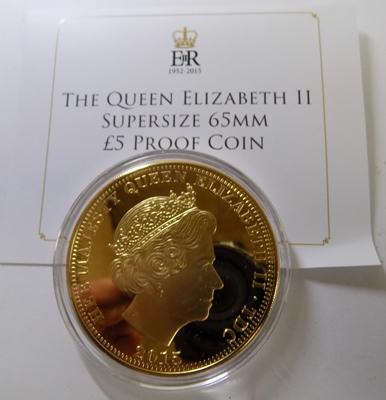 24ct Gold plate £5 supersize coin