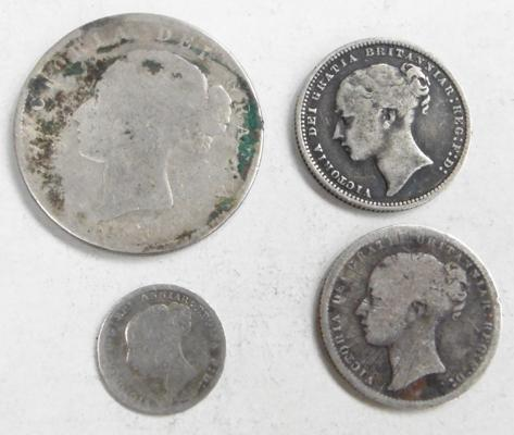 4x Early Victorian silver coins-inc 1873 & 1874 Shillings