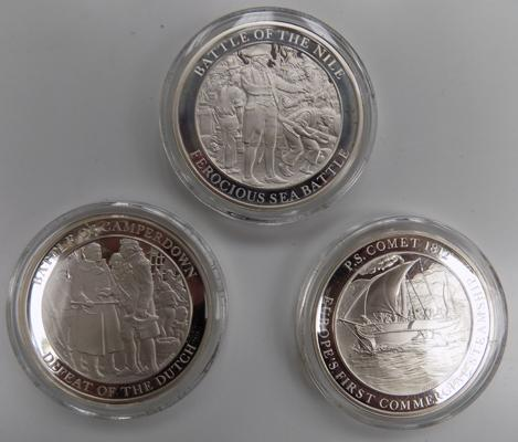 Mountbatten medallic history of Great Britain & The Sea-volume II coins x3, Battle of Camperdown, Battle of the Nile, P.S Comet 1812