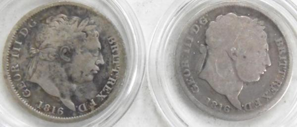 2x George III silver Shillings dated 1816