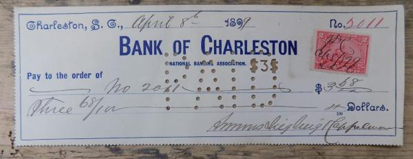 Stamped 1899 USA cheque