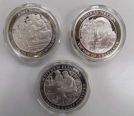 Mountbatten medallic history of Great Britain & The Sea-volume II coins x3, Admiral Nelson, Matthew Flinders & Earl Howe