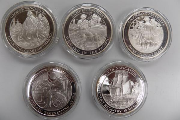 Mountbatten Medallic history of Great Britain & The Sea-volume II coins x5, The 1786 Merchant shipping act, opening of Pacific Whaling, Harrison's chronometer, first fleet of Australia, Vancouver disc