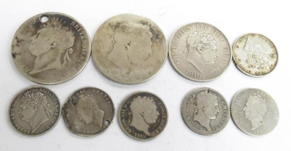 Collection of silver antique Georgian coins