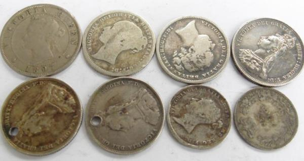 Collection of silver antique Victorian coins
