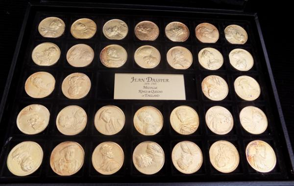 Case of Medallic Kings & Queens of England coins