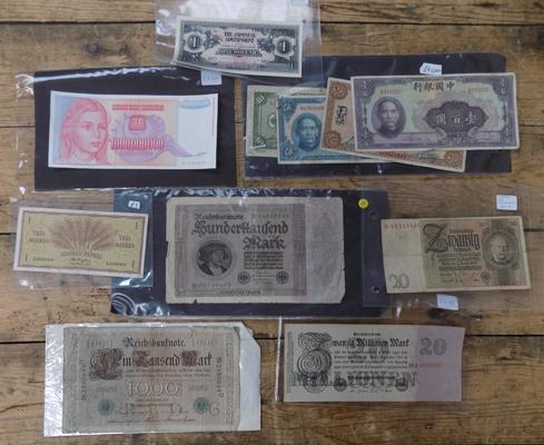 Selection of foreign bank notes, incl. early German + Chinese