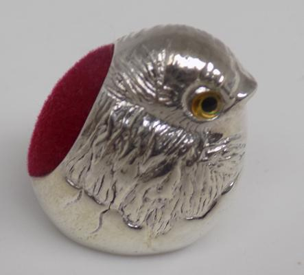 Silver Robin pin cushion