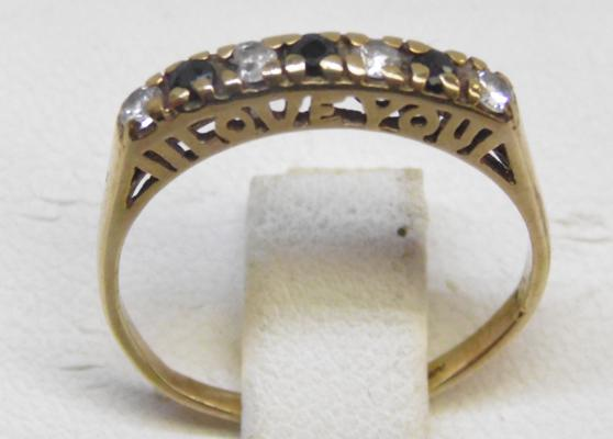 9ct Gold sapphire 'I Love You' half eternity ring size L 1/2