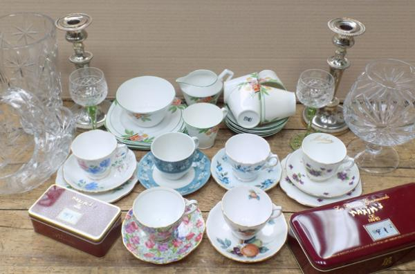 Box of collectables incl. silver plate, vintage china, cut glass