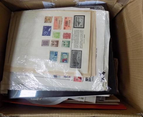 Large box of stamps, album pages etc...