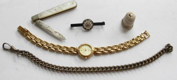 Vintage mother of pearl hallmarked silver fruit knife, silver thimble, brooch, chain & gold plated watch